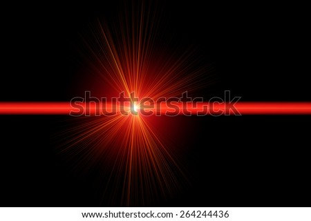 Red laser ray on black background - stock photo