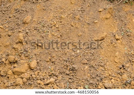 red laterite soil and rock texture with crumb of grass , soil background , soil background
