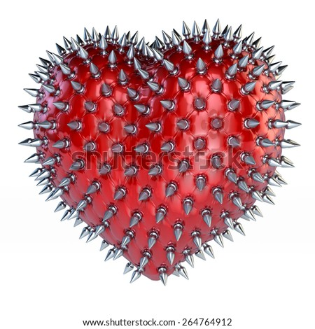 Red latex heart with silver, steel spikes, chesterfield look, 3d rendering, isolated on white background - stock photo