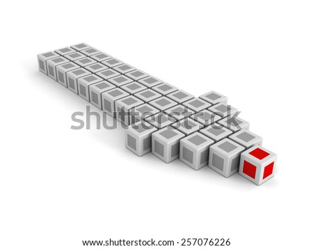 Red Leader Block of Big Arrow Moving Forward. Leadership Concept 3d Render Illustration - stock photo