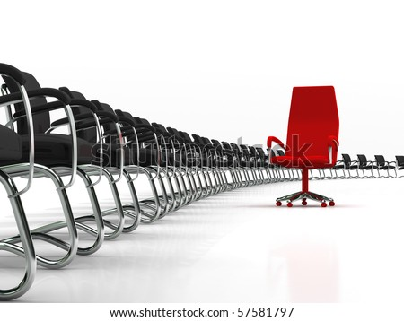 red leader chair with large group of black chairs isolated on white background - stock photo