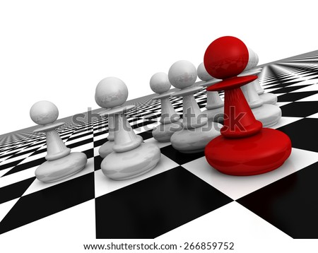 Red Leader Pawn In Forward Of Team. Success Concept 3d Render Illustration - stock photo