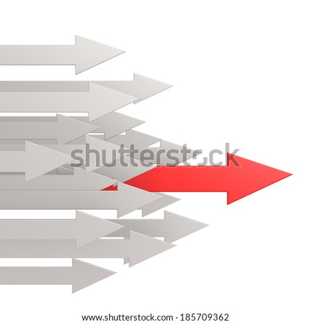 Red leading arrow - stock photo