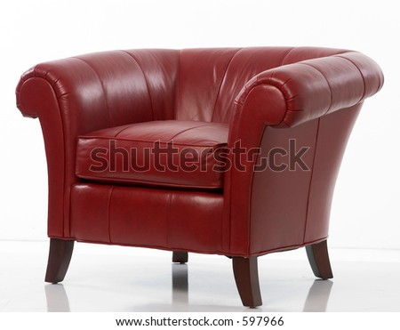 red leather armchair - stock photo