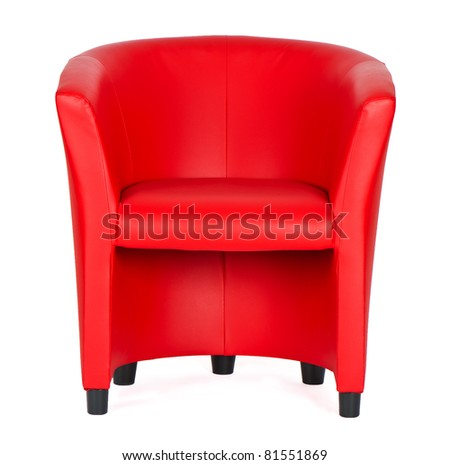 red leather armchair isolated on white - stock photo