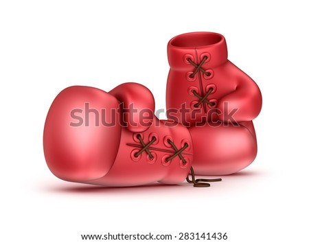 Red leather boxing gloves isolated on white - stock photo