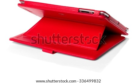 Red Leather Case with Tablet - Isolated
