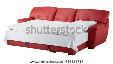 Red leather corner couch bed isolated on white include clipping path - stock photo