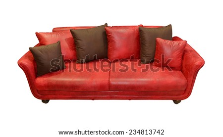 Throw Pillows For Red Leather Couch : Funky Big Red Sofacouch Isolated On Stock Photo 6186142 - Shutterstock