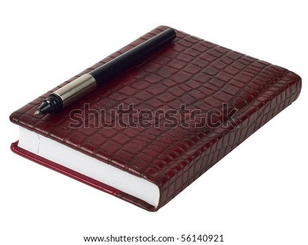 red leather diary and pen - stock photo