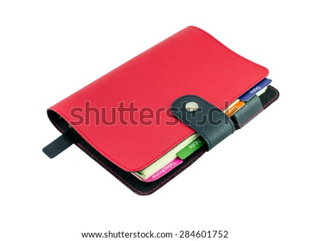 Red Leather diary book isolate on white with clipping path - stock photo