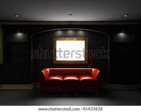 Red leather divan and bookcase with empty frame on the wall in dark room - stock photo