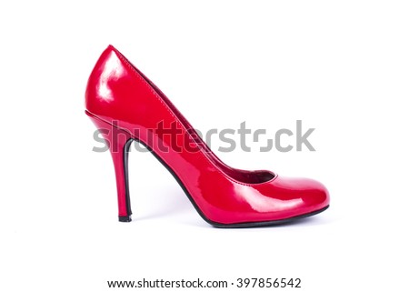 Red leather heel, isolated