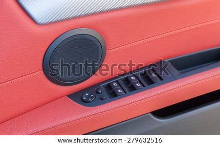 Red leather in a Car Interior - stock photo