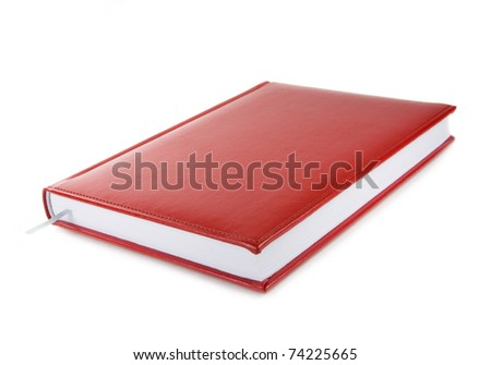 Red leather notebook isolated over white - stock photo