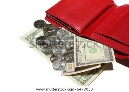 red leather pouch with change and banknote on white