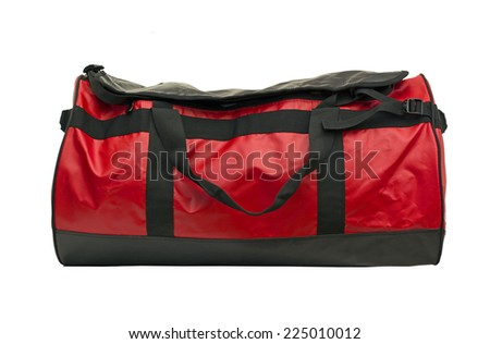 red leather quality bag isolated on white - stock photo