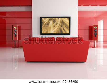 red leather sofa in a modern living room with home theatre system - digital artwork - stock photo