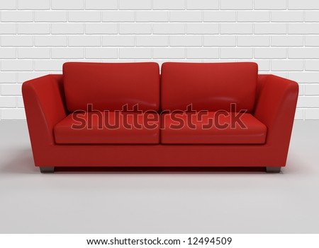 red leather sofa with background of white brick- wall - 3d rendering - stock photo