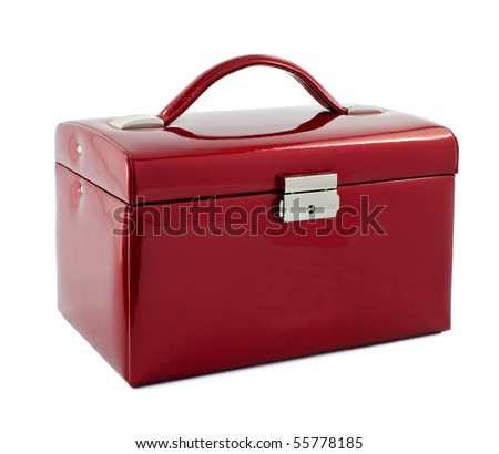 Red leather suitcase on a white background