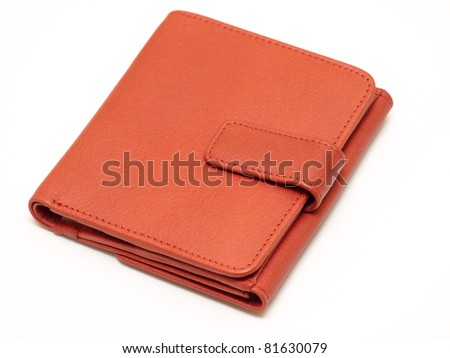 Red leather wallet - stock photo
