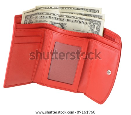 Red leather wallet with dollars. It is isolated on a white background
