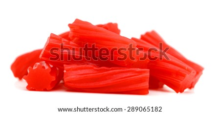 red licorice candies isolated on white  - stock photo
