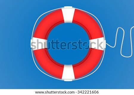 Red Life Buoy Chain on Isolated blue Background. - stock photo