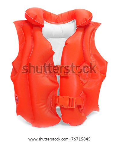 Red life-jacket. Necessary object for safe sailing. - stock photo