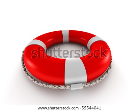 Red lifebuoy isolated on white background. High quality 3d render. - stock photo