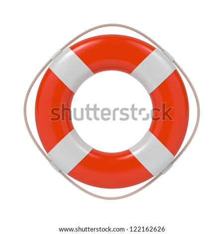 Red Lifebuoy with White Strips and Rope. Isolated on white. - stock photo