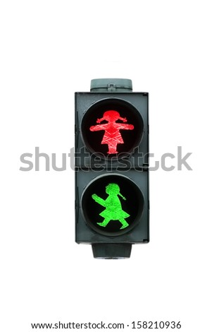 Red light and green light girls together for pedestrians - stock photo