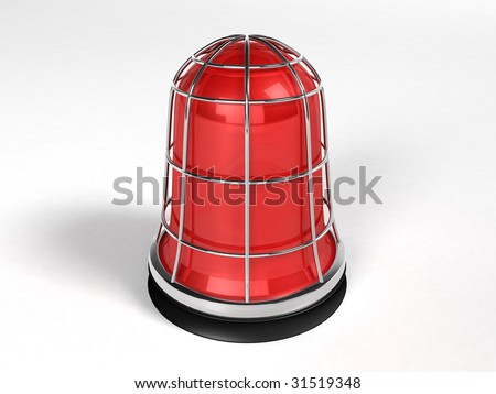 Red Light - isolated on white (alarm) - stock photo