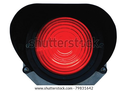 Red light railway traffic dwarf signal set at stop / danger, isolated, railroad ground mounting lamp - stock photo