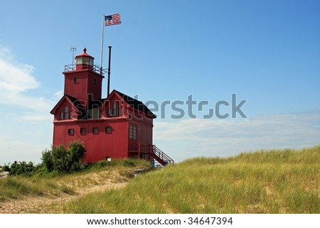 Red lighthouse in Holland, Michigan - stock photo