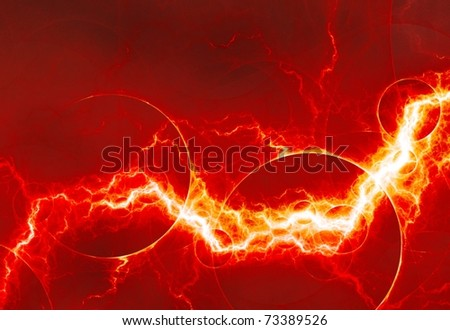 red lightning - stock photo