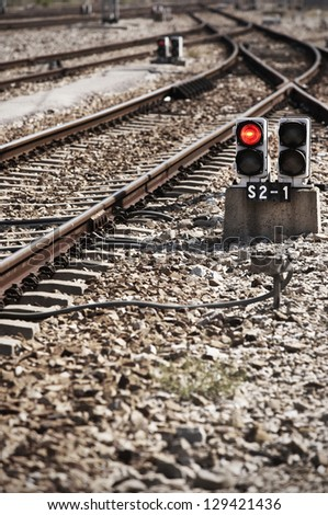 Red lights and railways crossroads on a train station