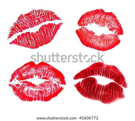 Red lip prints - stock photo