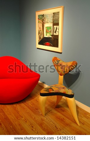 red lips and a chair - stock photo