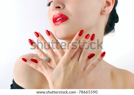Red lips and manicure - stock photo