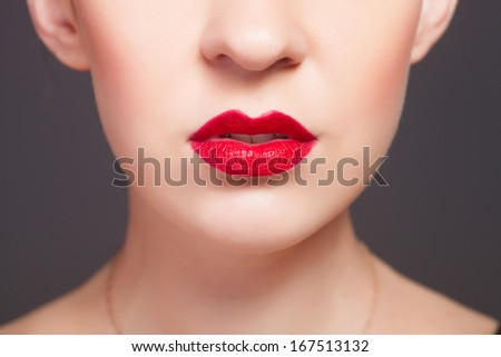 red lips, close-up portrait - stock photo
