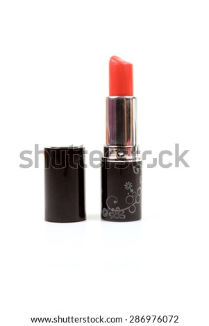 Red lipstick isolated on white. - stock photo