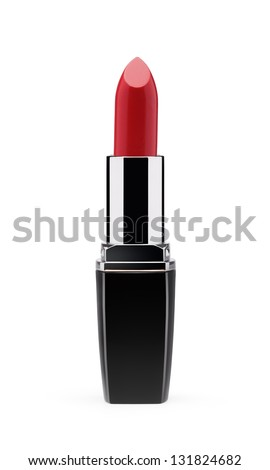 Red lipstick isolated on white background - stock photo