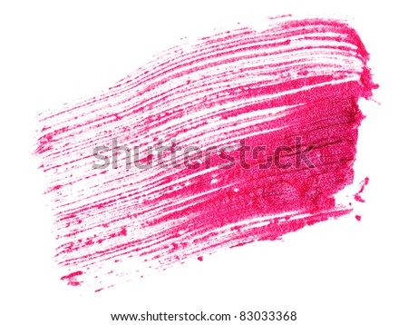 Red lipstick stroke (sample), isolated on white - stock photo