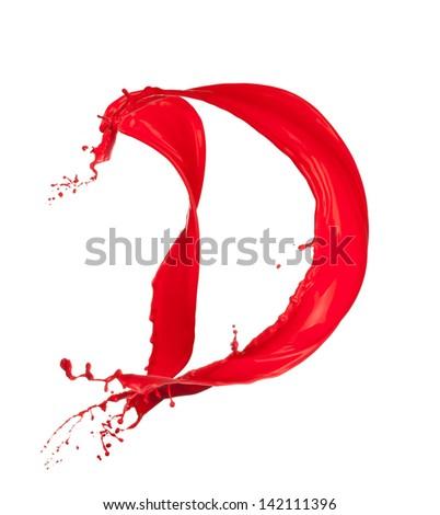 Red Liquid alphabet letter D - stock photo