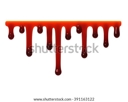 Red liquid slime smudges oozing dripping isolated on white. - stock photo