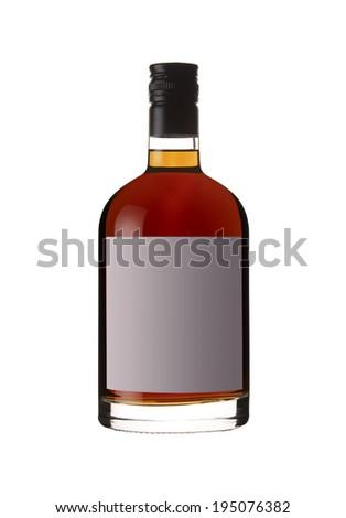 Red liquor bottle isolated on white. Vertical - stock photo