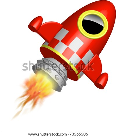 Red little rocket ship with flames illustration - stock photo