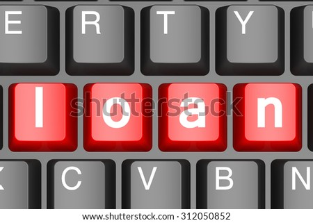 Red loan button on modern computer keyboard image with hi-res rendered artwork that could be used for any graphic design.