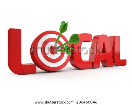 red local text and dart hitting a target isolated white background - stock photo